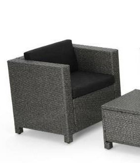 Grey  Puerta Outdoor 1 piece Wicker chair with Cushions by Christopher Knight Home  Retail 904 49