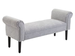 52  linen Upholstered Vanity Accent Ottoman Bench With Armrests  Retail 149 99