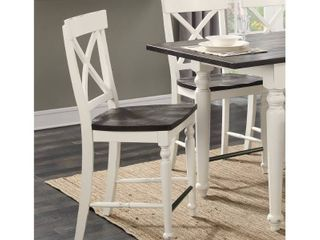 The Gray Barn Crooked Cottage X back Barstool with Wood Seat  Set of 2  Retail 305 99