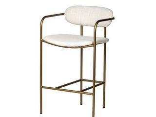 Single White Extra Tall Over 33 in  Mercana Parker 30 Seat Height Cream Fabric Seat Gold Metal Base Stool Retail  345 99