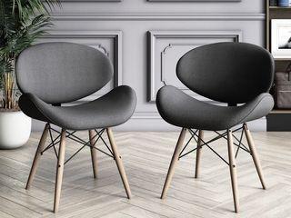Dark Grey 2 Chairs Corvus Madonna Mid century Walnut and Black Finish Accent Chair Retail  212 99