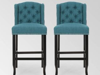 Teal   Dark Brown Foxwood Wingback Barstool  Set of 2  by Christopher Knight Home Retail  284 99