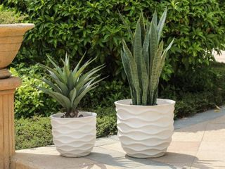 Kayu 2 piece Wavy Design White MgO Planters by Havenside Home  Retail 138 49