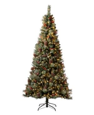 7 5 Foot New Arrival Glitzhome Pre lit Green Pine Artificial Christmas Tree with Warm White lights  Pinecone and Berries Retail  347 49