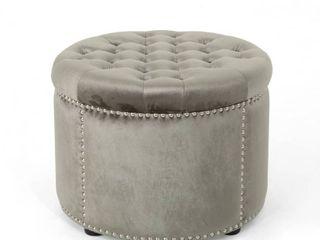 grey   black Tiernan Velvet Tufted Ottoman by Christopher Knight Home Retail  108 49