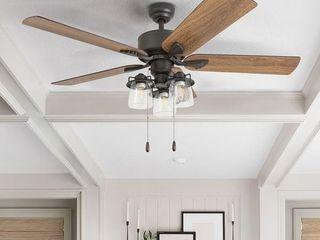 The Gray Barn Hatekin Farmhouse 52 inch Aged Bronze lED Ceiling Fan in linen Drum light in 3 speed Remote   Retail 135 99
