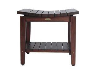 Teak Brown Modern   Contemporary DecoTeak Sojourn 20 Contemporary Teak Shower Bench With Shelf Retail  169 95
