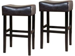 Set of 2 Brown Bar Height 29 32 in  Portman 30 inch Bonded leather Backless Bar Stool  Set of 2  by Christopher Knight Home Retail  187 99