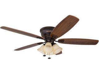 52  Honeywell Glen Alden Oil Rubbed Bronze Hugger Ceiling Fan with 4 light