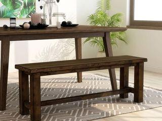 Single Rustic Oak Short 16 22 in  Furniture of America Aver Rustic Oak Solid Wood Dining Bench Retail  206 49