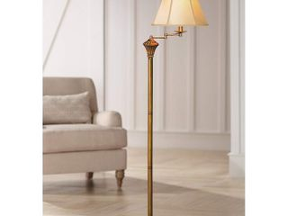 Antique Brass Swing arm Floor lamp with Faux Silk Shade
