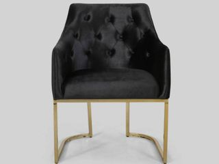 McDonough Modern Tufted Glam Accent Chair with Velvet Cushions and U Shaped Base by Christopher Knight Home  Retail 209 99