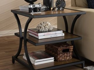 Brown Black Rectangle End Tables Rustic Brown and Black End Table by Baxton Studio Retail  191 49