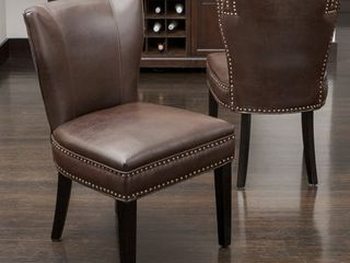 Jackie Contemporary Bonded leather Dining Chair with Nailhead Accents by Christopher Knight Home  Retail 141 49