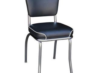 Black Richardson Seating Chrome Plated Steel  Black Vinyl Retro Home Dining Chair Retail  109 49