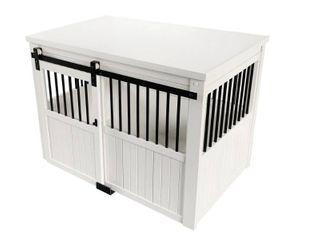 large Antique White ECOFlEX Homestead Sliding Barn Door Dog Crate Retail  411 99
