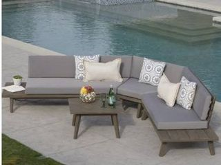 Hillcrest Outdoor 2 piece V Shaped Wood Set with Cushion by Christopher Knight Home  Retail 1272 49