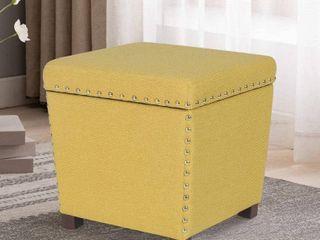 Yellow Adeco Storage Ottoman Square Footrest Stool Small Fabric Footstool Retail  95 49