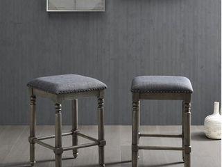 Arnhem Wood Upholstered Swivel Counter Height Stool  Set of 2  Retail 157 49