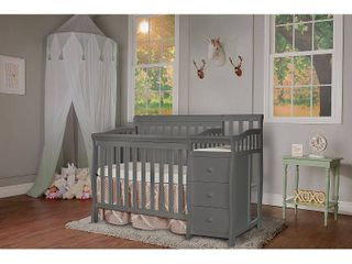 Dream On Me Jayden 4 in 1 Convertible Mini Crib and Changer Storm Grey