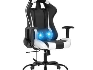 Gaming Chair Massage Office Chair Racing Desk Chair PU leather Rolling Task Adjustable Computer Chair with lumbar Support Headrest Armrest Swivel Chair for Gamer White