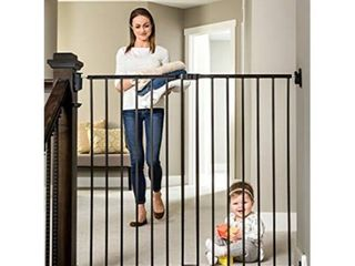Regalo 2 in 1 Extra Tall Easy Swing Stairway and Hallway Walk Through Baby Gate  Black