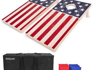 GoSports Regulation Size Solid Wood Cornhole Set   American Flag Design   Includes Two 4  x 2  Boards  8 Bean Bags  Carrying Case and Game Rules