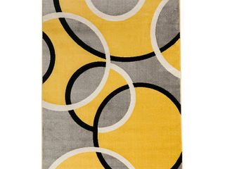 Contemporary Abstract Circles Area Rug 5  3  x 7  3  Yellow