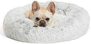 Best Friends by Sheri The Original Calming Donut Cat and Dog Bed in Shag Fur  Small 23 x23  in Taupe  Machine Washable