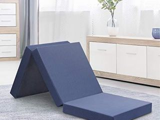 Olee Sleep Tri Folding Memory Foam Topper  4  Gray  Single size  Play Mat  Foldable bed  Guest beds  Portable bed