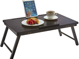 Pj Wood Foldable Open Top laptop Desk And Bed Tray Table   Black