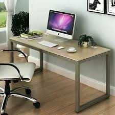 Shw Home Office 55 inch large Computer Desk Silver Frame W grey Top