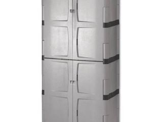Rubbermaid Double Door Storage Cabinet   Base Top  36w x 18d x 72h  Gray Black