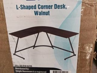 Shw l shaped Home Office Corner Desk Wood Top  Walnut