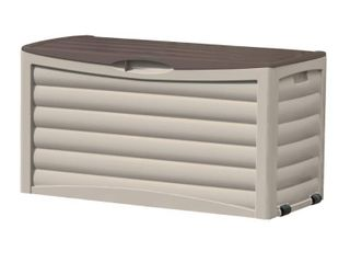 Suncast 83 Gallon Outdoor Resin Storage Deck Box  light Taupe   Mocha