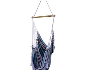 Vivere Brazilian Single Hammock Chair with fringe  Denim
