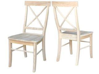International Concepts X Back Chair  Set of 2  Unfinished