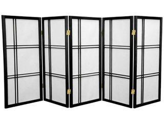 3 ft  Tall Double Cross Shoji Screen   Black  5 Panels    Oriental Furniture