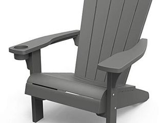 Keter Furniture Patio Chairs with Cup Holder   Perfect for Beach  Pool  and Fire Pit Seating  Dark Grey