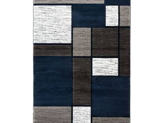 Contemporary Modern Boxes Navy 7 10  x 10 2  Indoor Area Rug