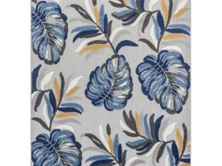 Well Woven Dorado Wilmington Modern Tropical leaves Blue 5 3  x 7 3  High low Indoor Outdoor Area Rug