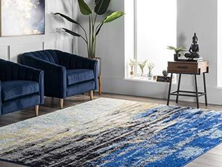 nulOOM Waterfall Vintage Abstract Area Rug  3  x 5  Blue