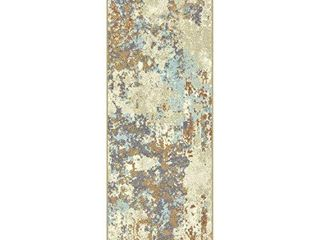 Maples Rugs Southwestern Stone Distressed Abstract Non Slip Runner Rug For Hallway Entry Way Floor Carpet  Made in USA  2 x 6  Multi