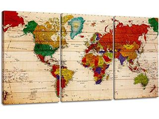 Abstract World Map Canvas Wall Art large Colorful Pictures Print Modern Premium Vintage Global Earth Travel Background Artwork for Office living Room Bedroom Home Decoration 20x30 inch x 3 Panel