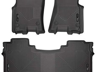 Husky liners 94001 Fits 2019 20 Dodge Ram 1500 Crew Cab with factory storage box Weatherbeater Front   2nd Seat Floor Mats  Black