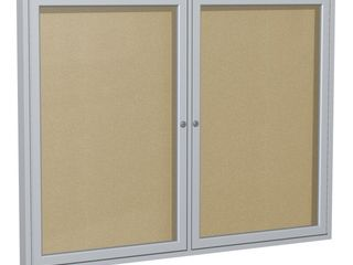 Ghent 36 x 60 Inches 2 Door Satin Aluminum Framed Enclosure Caramel Bulletin Board  PA23660VX 181