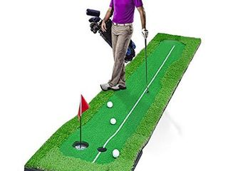 Golf Putting Green System Professional Golf Practice Training Putting Mat for Indoor Outdoor Challenging Putter Aid Equipment  3 3x10ft 4Holes