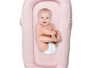 CubbyCove Classic aThe Truly Breathable Baby loungera Portable Nest for Cosleeping  Tummy Time and Playing  Super Soft and Includes Canopy  Rose Pink