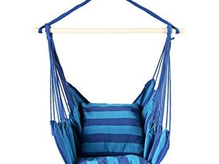 Bathonly Hanging Hammock Chair Single Sitting Swing Chair   Hammock Chair   2 Tone Blue   Durable layer Fabric   Hanging Chair for Bedroom Patio  Max 265lB
