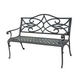 Garden Treasures 25 in l x 50 in D x 34 in H Waterbridge Aluminum Black Park Chair